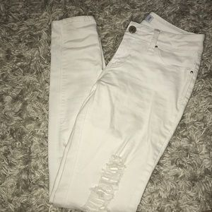 Luxe Jeans - White ripped high waisted jeans
